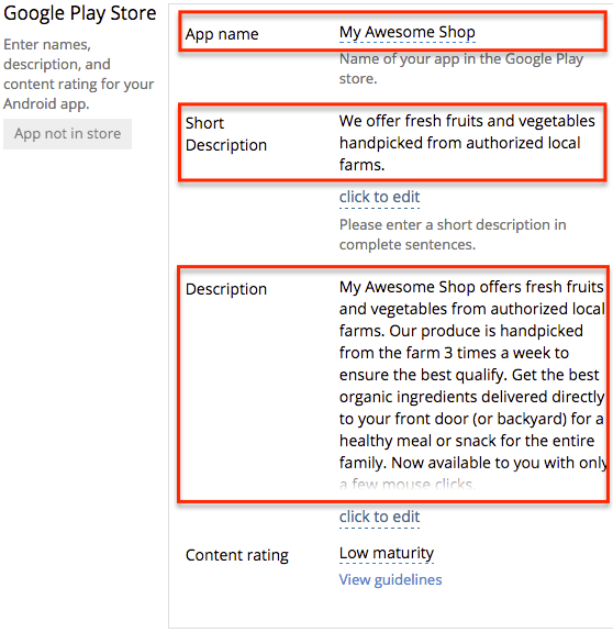 Google Play App Store: Make sure you fill in the details