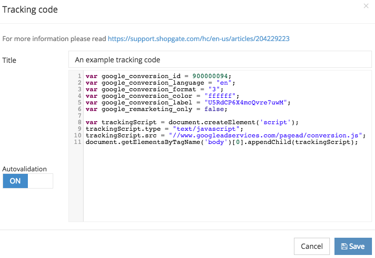 Embedding a custom tracking code – Support Center